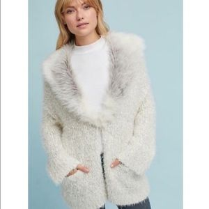 Anthropologie sleeping on snow venla cardigan fur